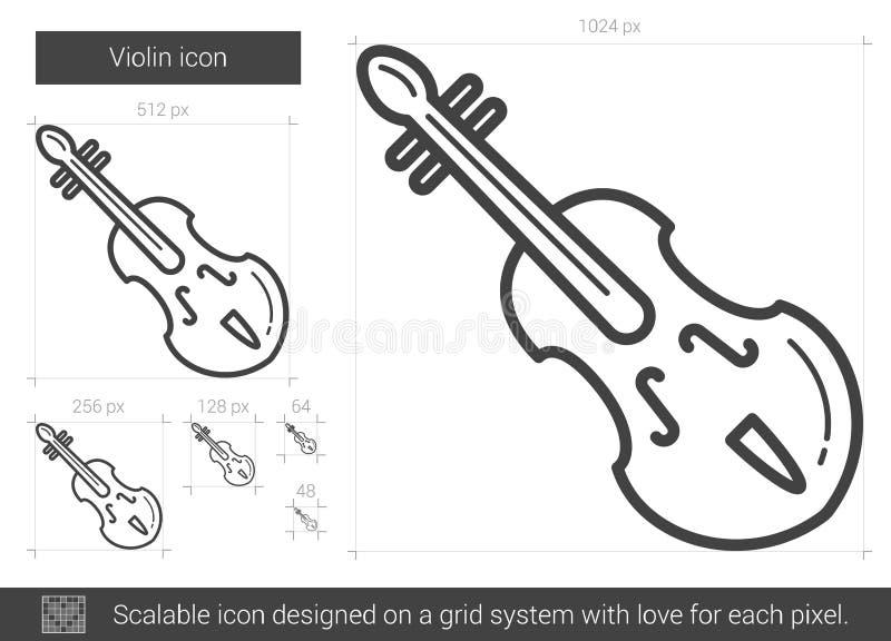 Linha ícone do violino ilustração do vetor