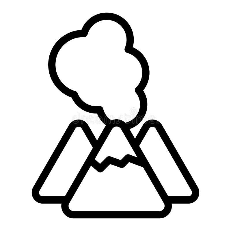 Linha ícone do vulcão Ilustração do vetor da lava isolada no branco Projeto do estilo do esboço da cratera, projetado para a Web  ilustração royalty free