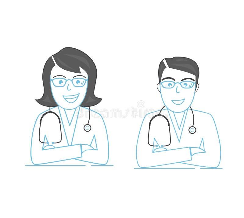 Linha ícone, dois doutores novos dos profissionais Homem e mulheres Qualidade superior ilustração royalty free