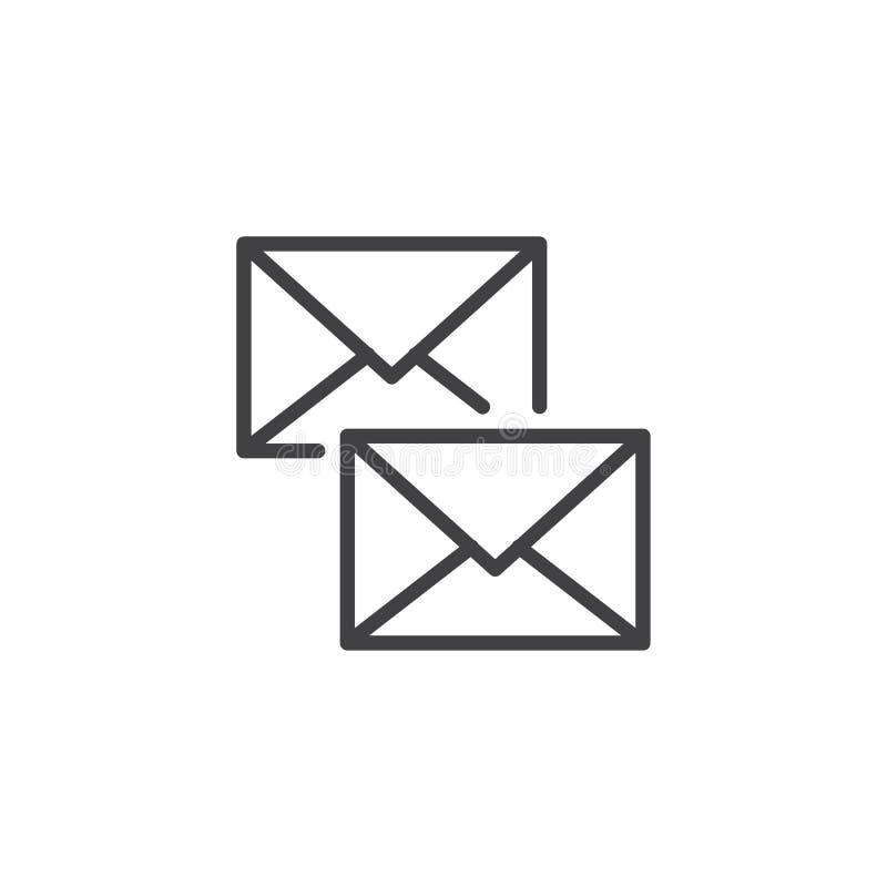 Linha ícone dos envelopes ilustração do vetor