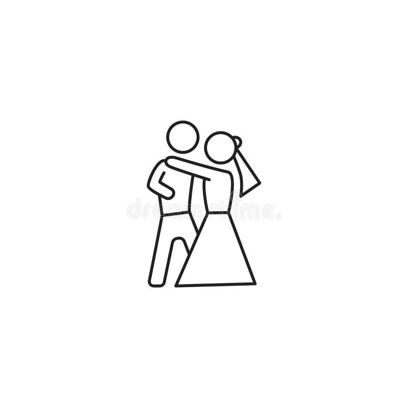 Linha ícone dos pares da dança no fundo branco ilustração royalty free