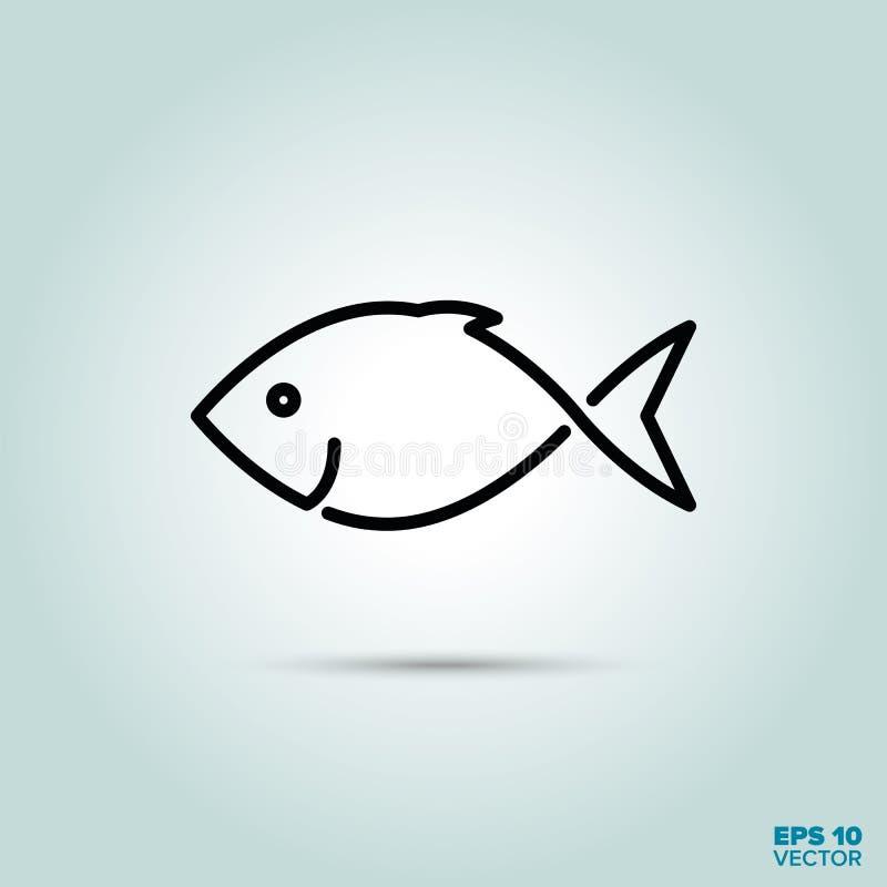Linha ícone dos peixes ilustração royalty free
