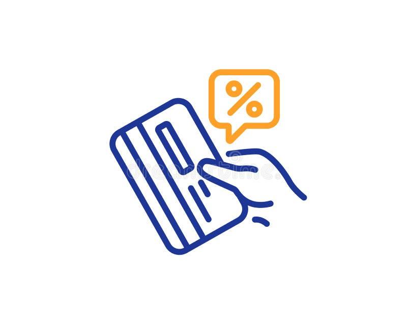 Linha ícone dos por cento do cartão de crédito Sinal do disconto Vetor ilustração stock