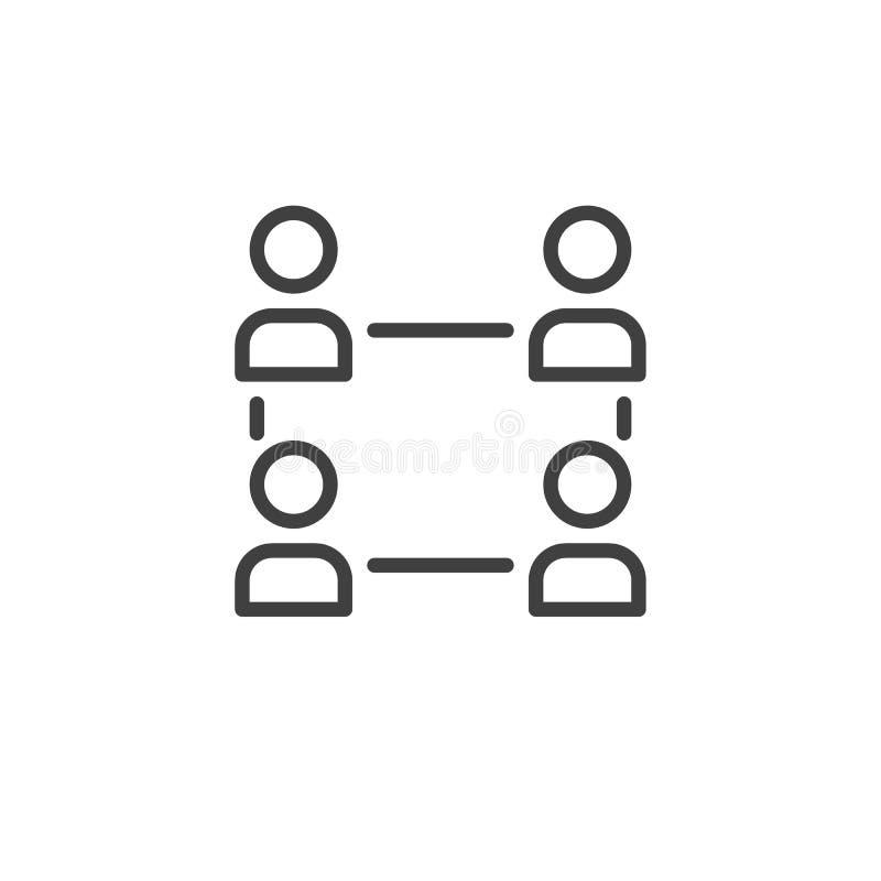 Linha ícone dos recursos humanos e da gestão ilustração stock