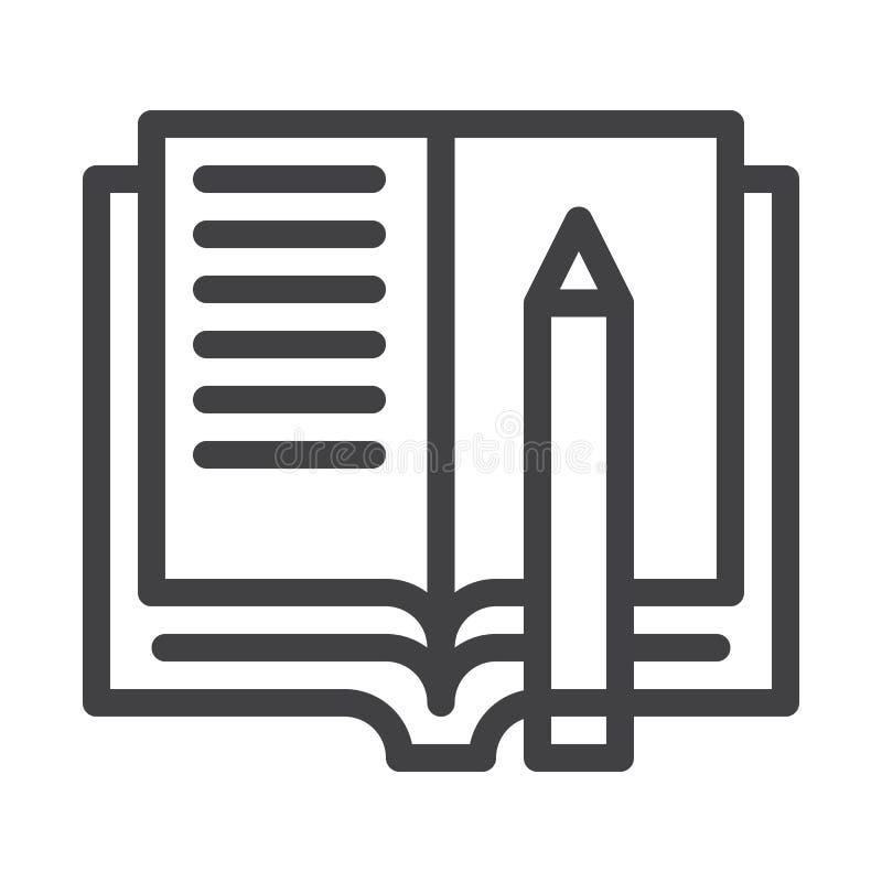 Linha ícone dos trabalhos de casa ilustração do vetor