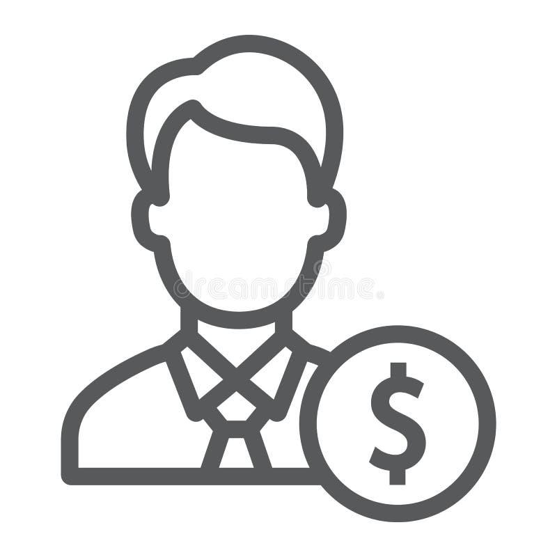 Linha ícone, finança e operação bancária do acionista ilustração do vetor