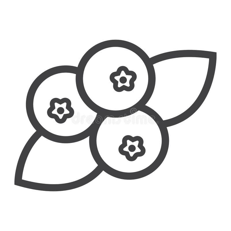 Linha ícone, fruto e dieta do mirtilo ilustração royalty free