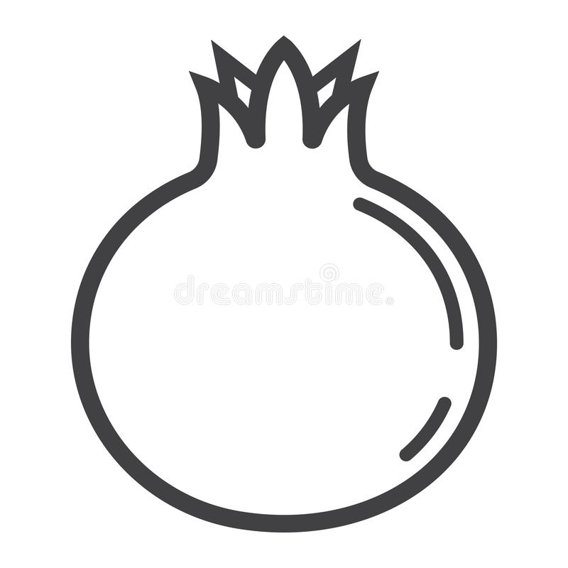 Linha ícone, fruto e grandada da romã ilustração stock