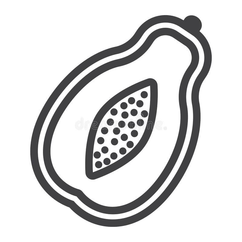 Linha ícone, fruto e tropical da papaia ilustração royalty free