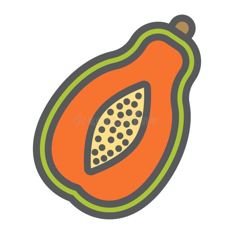 Linha ícone, fruto e tropical da papaia ilustração do vetor