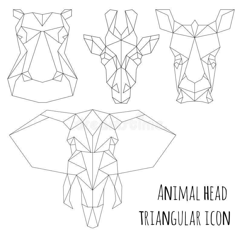 Linha ícone-geométrica triangular principal animal projeto ilustração stock