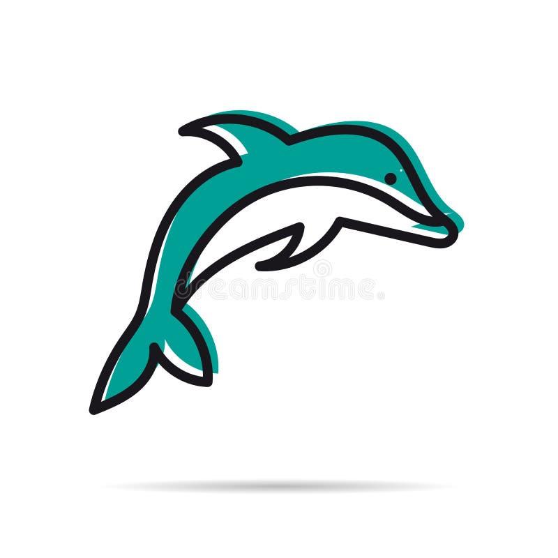 Linha ícone - golfinho de salto ilustração do vetor