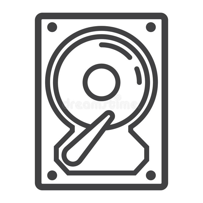 Linha ícone, hardware e hdd do disco rígido ilustração do vetor