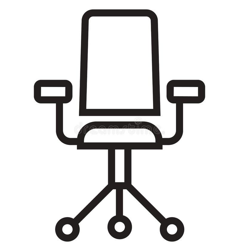 A linha ícone isolado da cadeira de giro do vetor pode facilmente ser alterada e editado ilustração stock