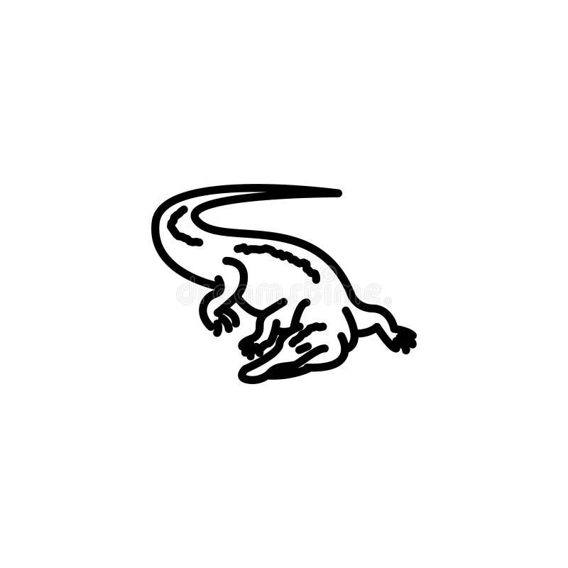 Linha ícone Jacaré, crocodilo; animais selvagens ilustração do vetor