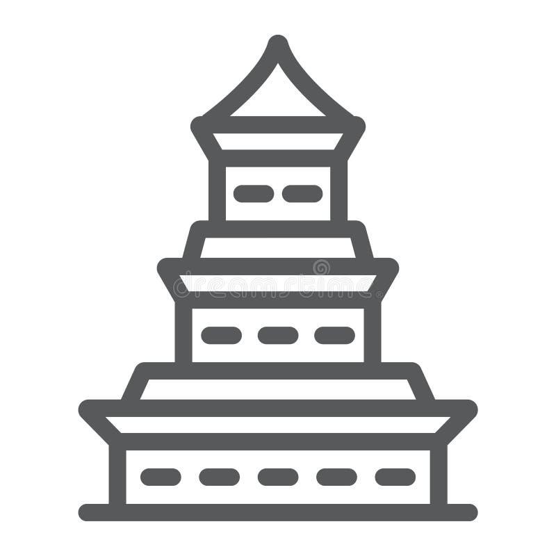 Linha ícone, japão e arquitetura do pagode, sinal de construção japonês, gráficos de vetor, um teste padrão linear em um branco ilustração stock