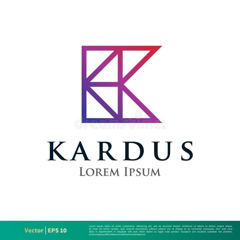 Linha ícone Logo Template Illustration Design da letra de K do vetor Vetor EPS 10 ilustração stock