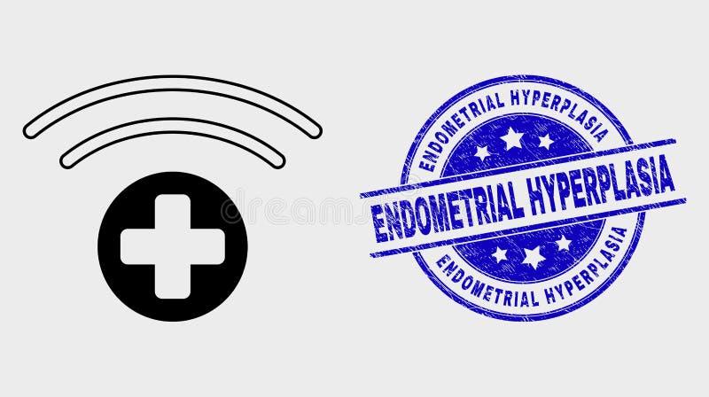 Linha ícone médico do vetor da fonte e filigrana Endometrial da hiperplasia do Grunge ilustração stock