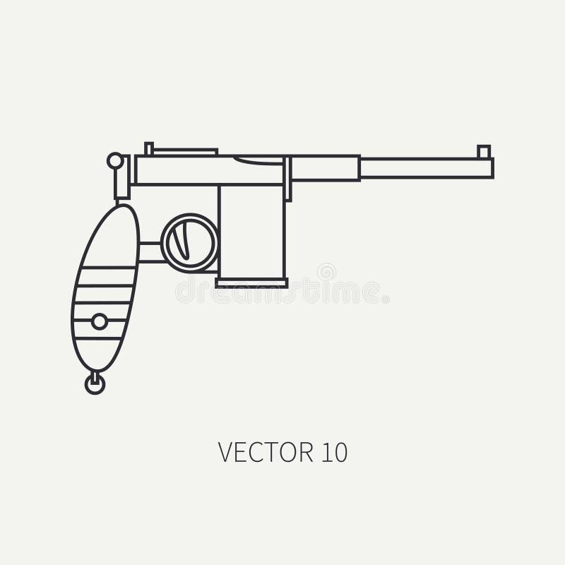 Linha ícone militar do vetor liso - pistola Equipamento e armas do exército Estilo dos desenhos animados exército assalto soldado ilustração do vetor