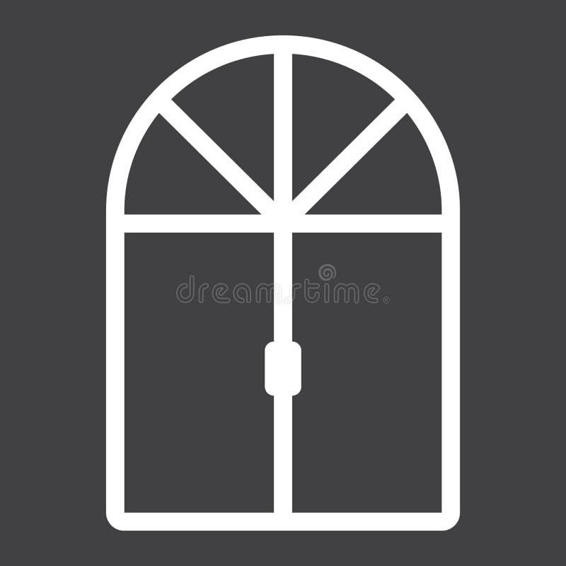 Linha ícone, mobília e interior da janela ilustração stock