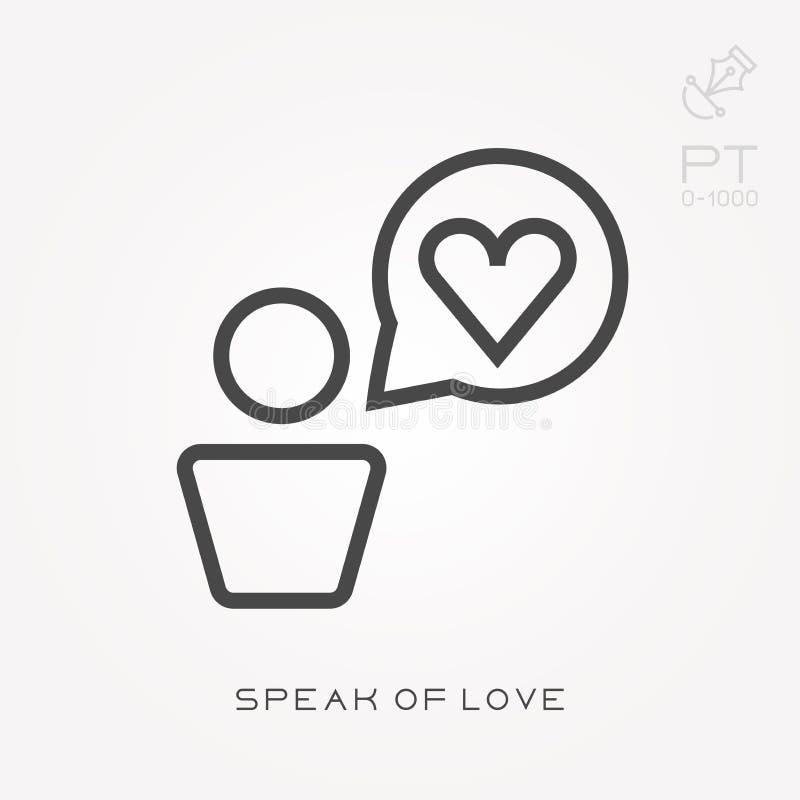 Linha ?cone para falar de amor ilustração royalty free