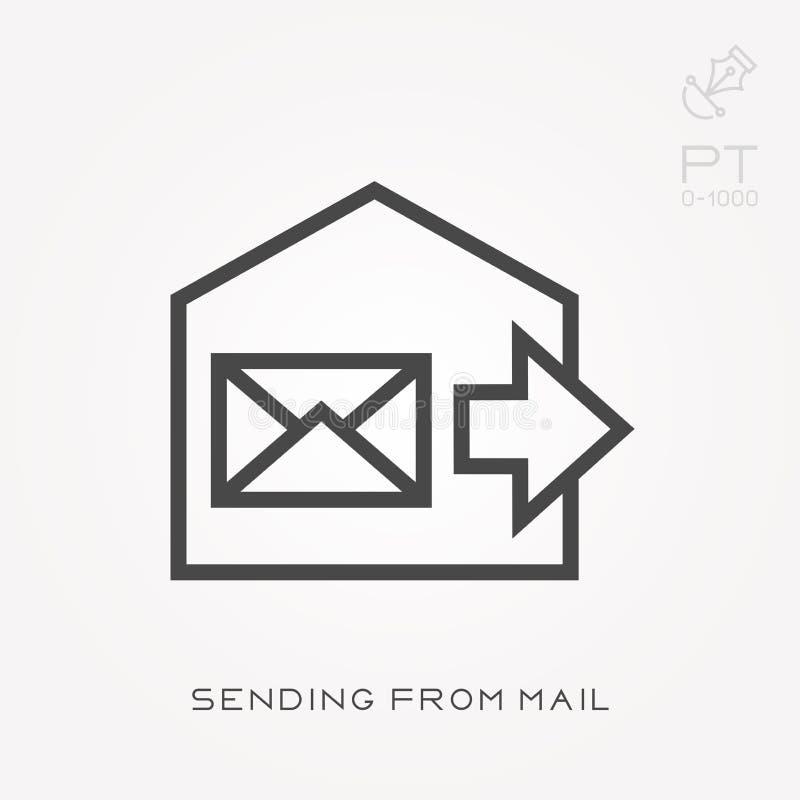 Linha ícone que envia do correio ilustração do vetor