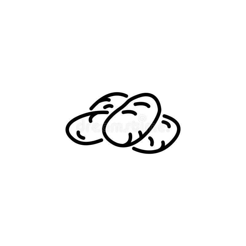 Linha ícone Símbolo das batatas ilustração stock