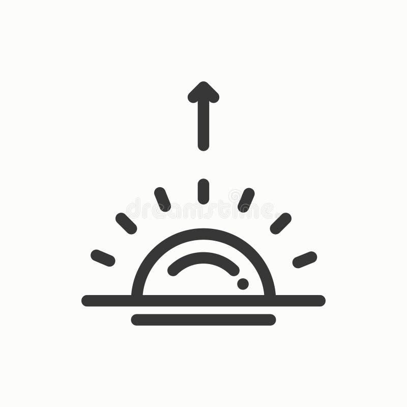 Linha ícone simples de Sun Símbolos de tempo Nascer do sol, por do sol Elemento do projeto da previsão Molde para app móvel, Web  ilustração royalty free