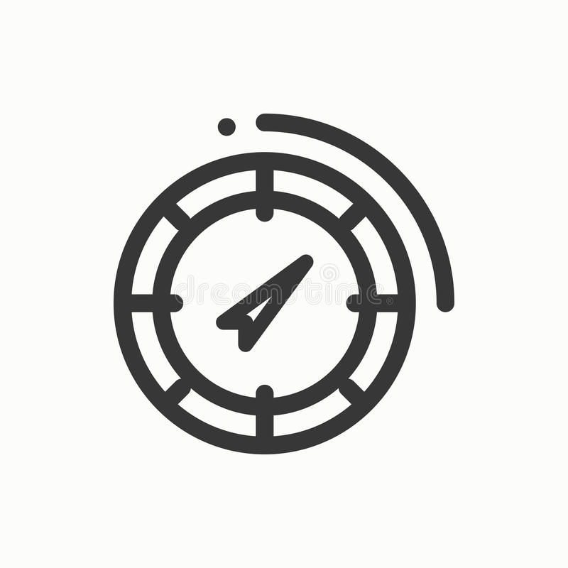 Linha ícone simples do compasso Símbolos de tempo Windrose Elemento do projeto Molde para o app, a Web e widgets móveis Vetor ilustração stock
