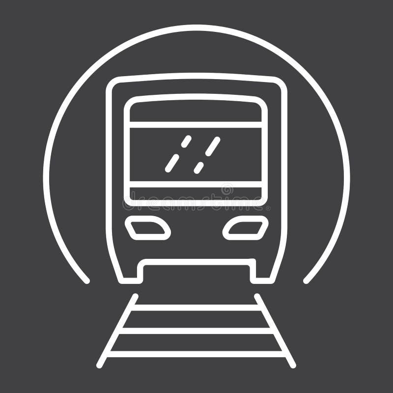 Linha ícone, transporte e estrada de ferro do metro ilustração do vetor
