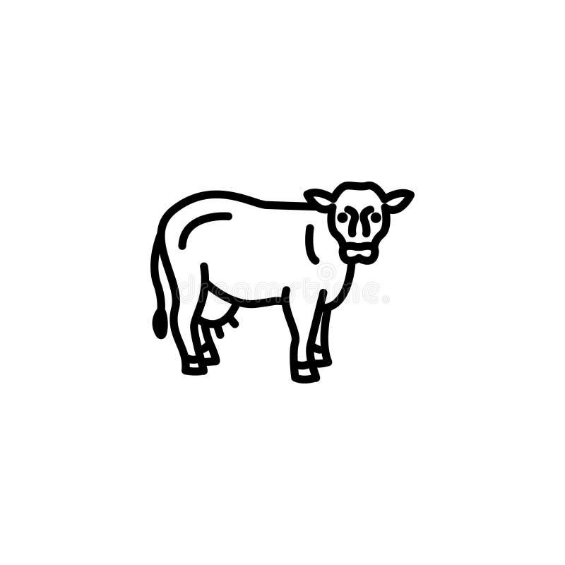 Linha ícone Vaca, rebanhos animais ilustração do vetor