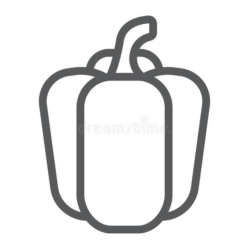 Linha ícone, vegetal e dieta da pimenta de Bell ilustração stock