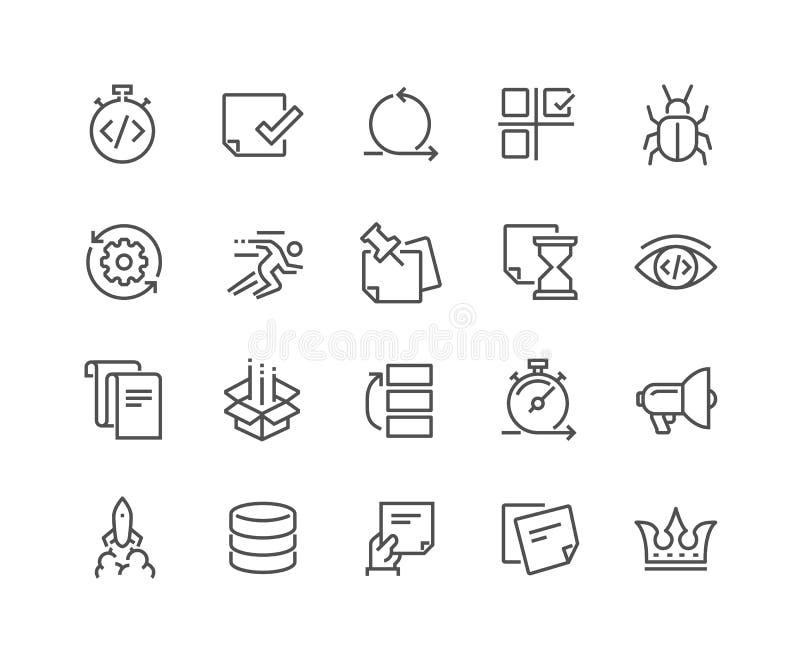 Linha ícones ágeis do desenvolvimento ilustração do vetor