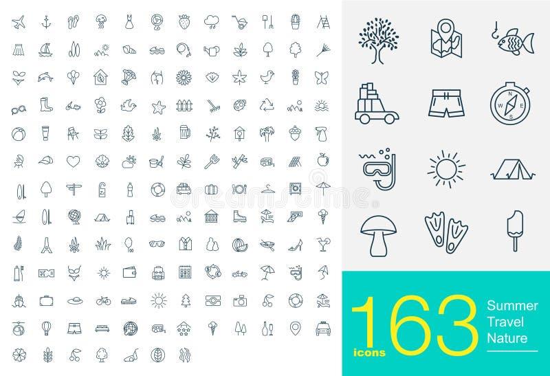 163 linha ícones ilustração stock