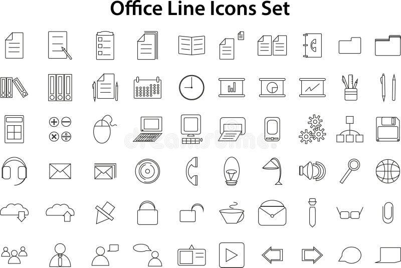 Linha ícones ajustados ilustração royalty free