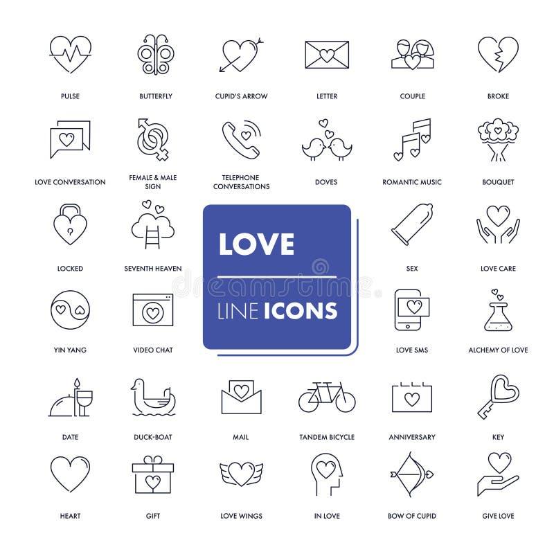 Linha ícones ajustados Amor ilustração stock