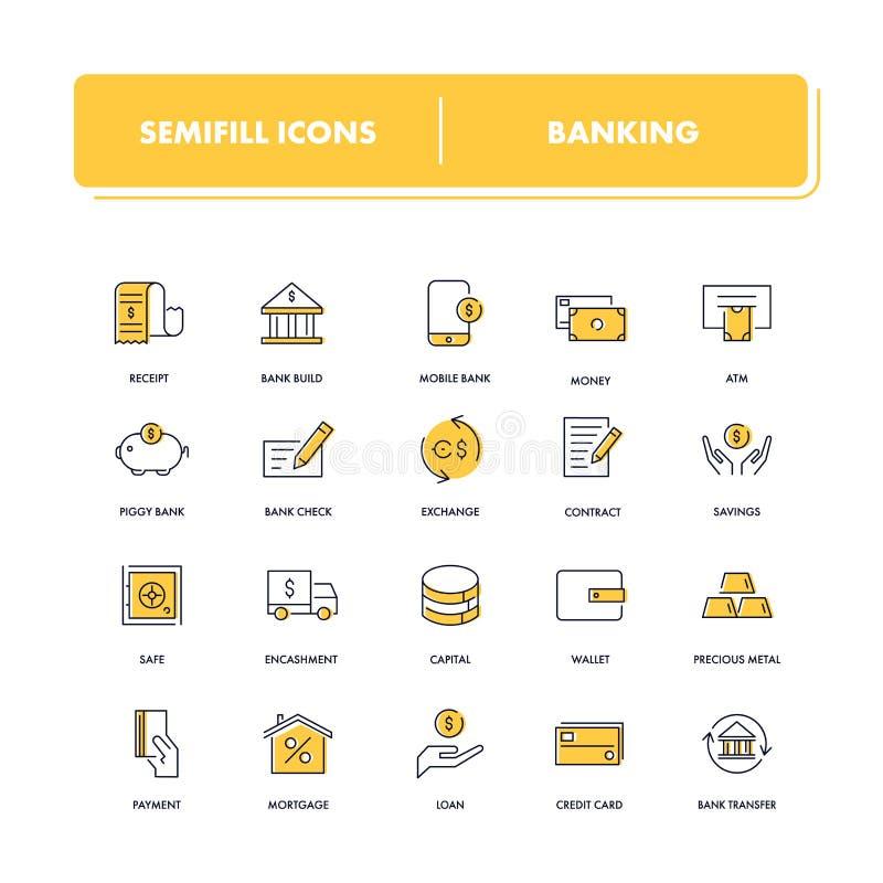 Linha ícones ajustados banking ilustração do vetor