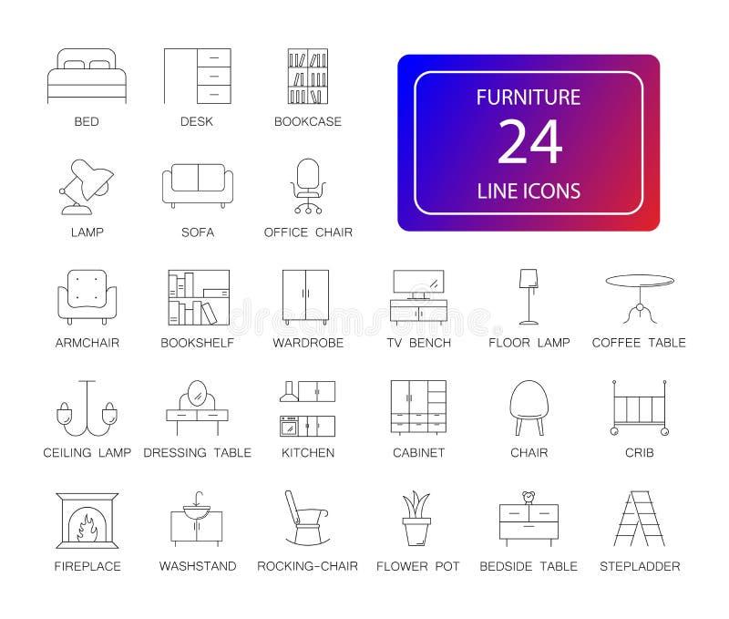 Linha ícones ajustados Bloco da mobília ilustração stock