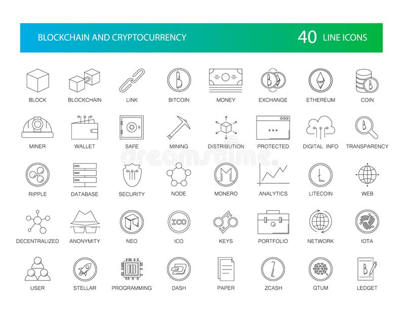 Linha ícones ajustados Bloco de Blockchain e de Cryptocurrency ilustração royalty free