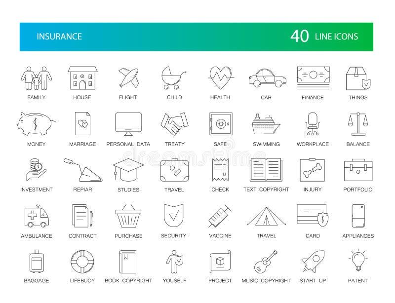 Linha ícones ajustados Bloco do seguro ilustração stock