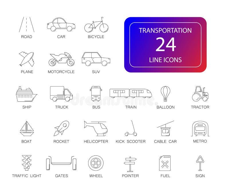 Linha ícones ajustados Bloco do transporte ilustração royalty free