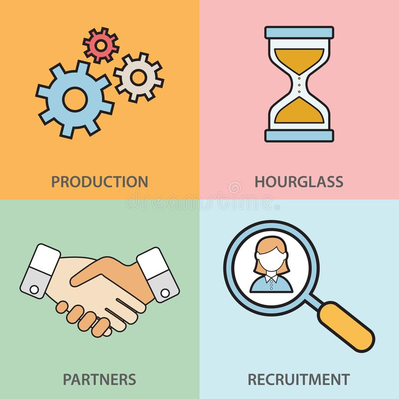 Linha ícones ajustados com elementos lisos do projeto dos executivos de uma comunicação, apoio profissional, acordo da parceria,  ilustração royalty free