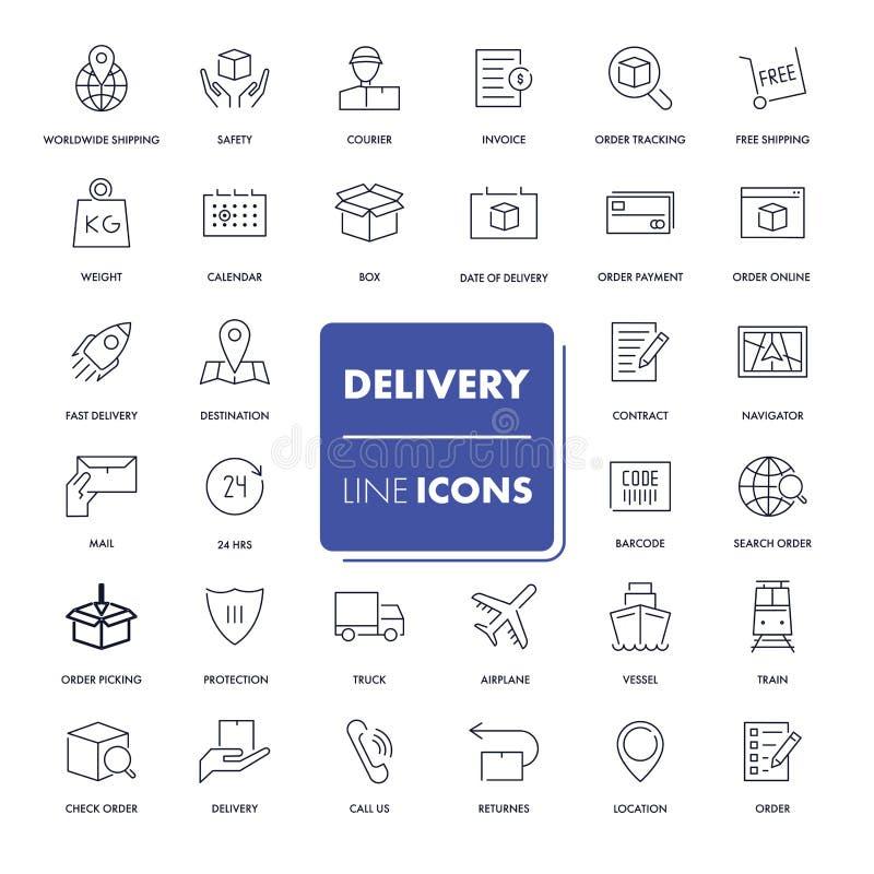 Linha ícones ajustados entrega ilustração stock