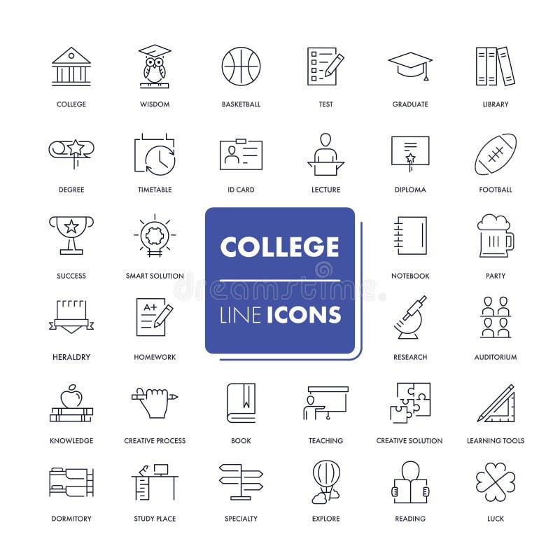 Linha ícones ajustados faculdade ilustração royalty free