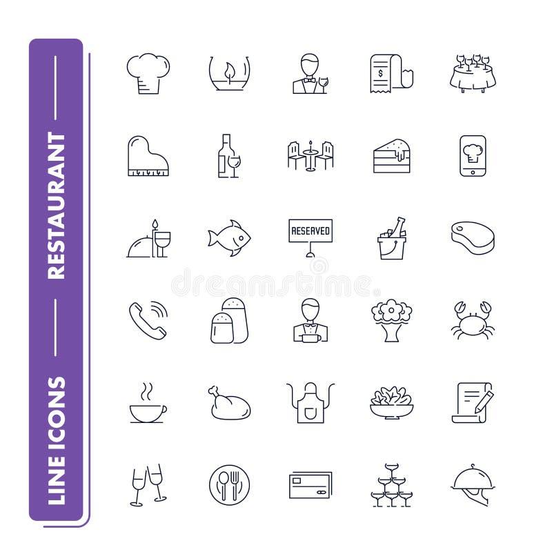Linha ícones ajustados Restaurante ilustração stock