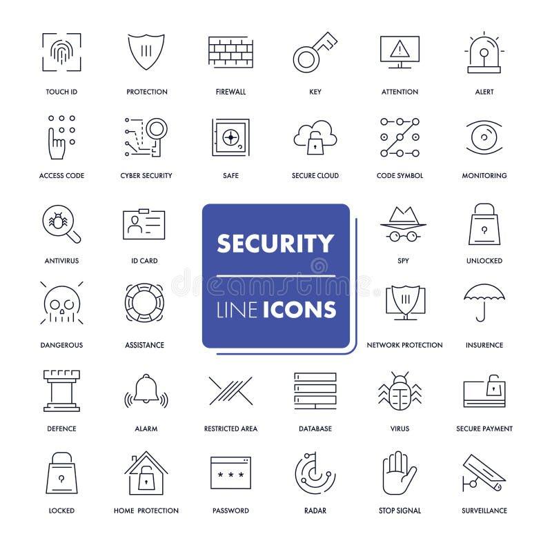 Linha ícones ajustados segurança ilustração stock