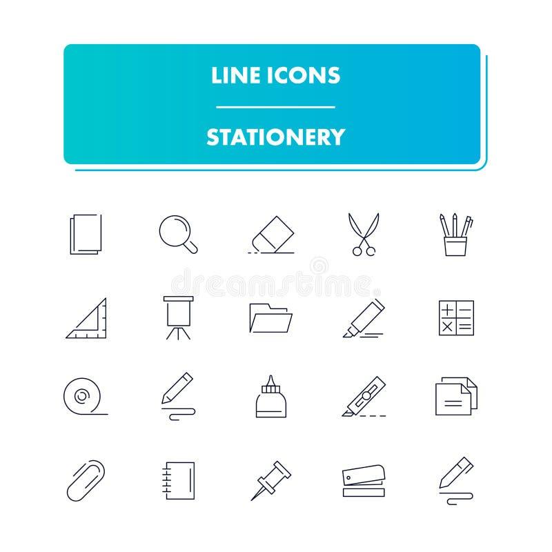 Linha ícones ajustados stationery ilustração do vetor
