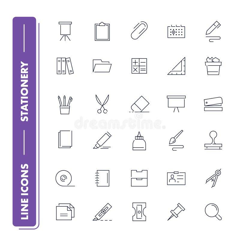 Linha ícones ajustados stationery ilustração stock