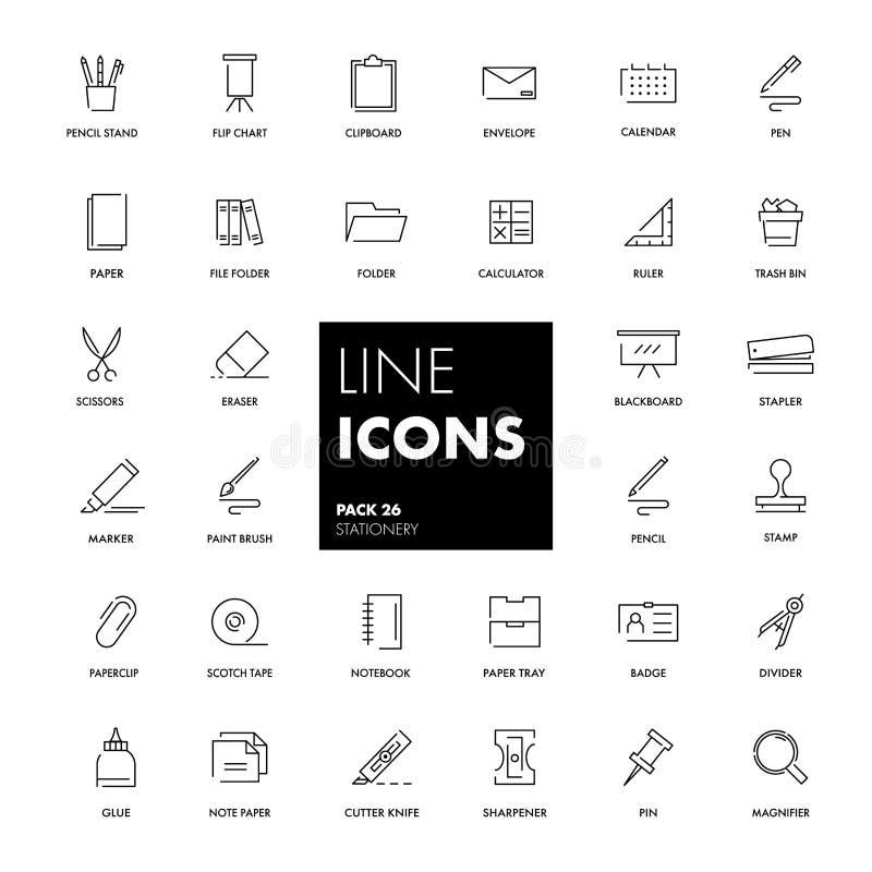 Linha ícones ajustados stationery ilustração royalty free