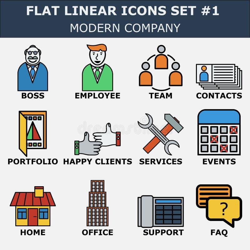 A linha ícones ajustou-se de serviços da empresa de negócio, equipe do escritório Coleção linear do pictograma do projeto liso mo ilustração do vetor
